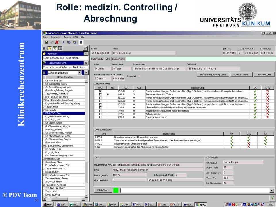 Ziele 2002 Klinikrechenzentrum © PDV-Team 55 Rolle: medizin. Controlling / Abrechnung