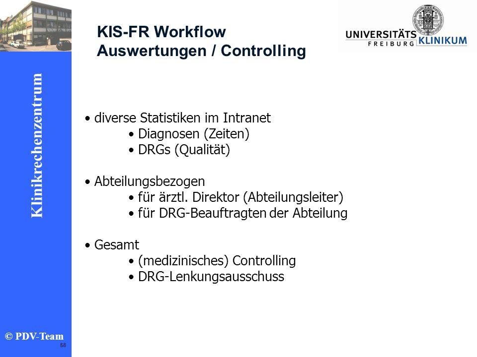 Ziele 2002 Klinikrechenzentrum © PDV-Team 58 KIS-FR Workflow Auswertungen / Controlling diverse Statistiken im Intranet Diagnosen (Zeiten) DRGs (Quali
