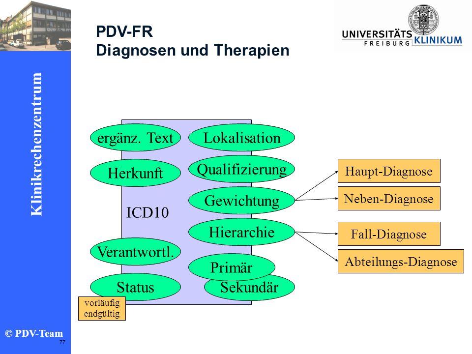 Ziele 2002 Klinikrechenzentrum © PDV-Team 77 PDV-FR Diagnosen und Therapien ICD10 Lokalisation Qualifizierung Sekundär Gewichtung Hierarchie Primär er