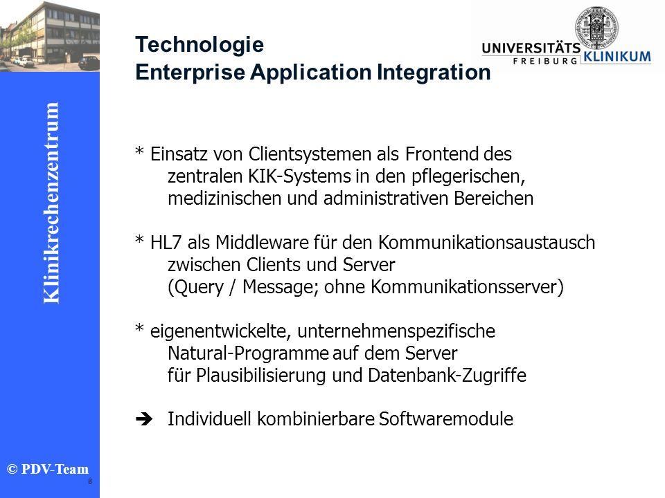Ziele 2002 Klinikrechenzentrum © PDV-Team 8 Technologie Enterprise Application Integration * Einsatz von Clientsystemen als Frontend des zentralen KIK