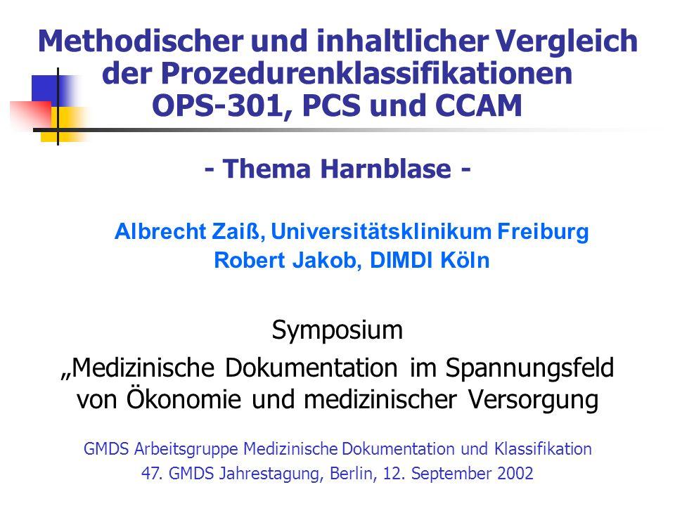 Methodischer und inhaltlicher Vergleich der Prozedurenklassifikationen OPS-301, PCS und CCAM - Thema Harnblase - Symposium Medizinische Dokumentation