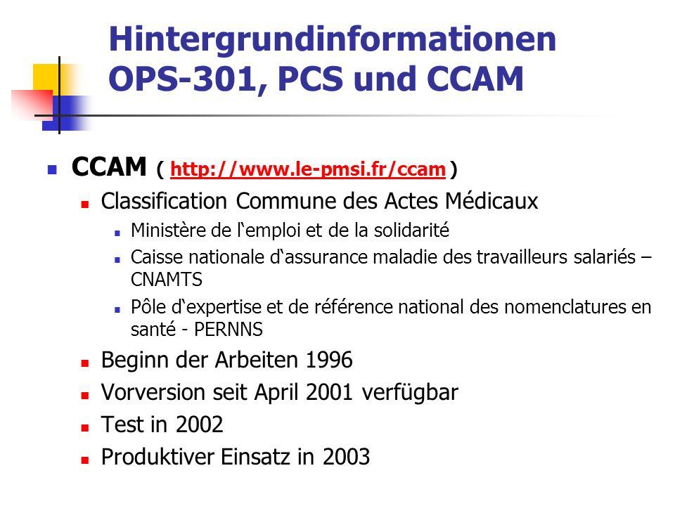 Hintergrundinformationen OPS-301, PCS und CCAM CCAM ( http://www.le-pmsi.fr/ccam )http://www.le-pmsi.fr/ccam Classification Commune des Actes Médicaux