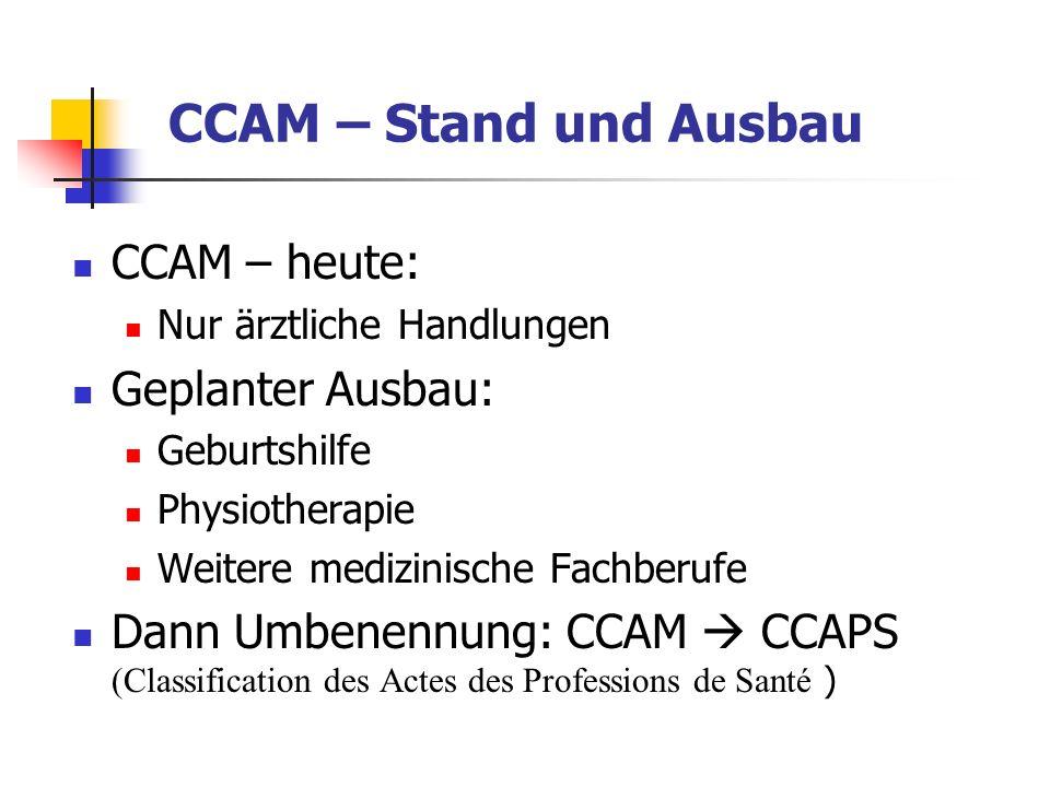 CCAM – Stand und Ausbau CCAM – heute: Nur ärztliche Handlungen Geplanter Ausbau: Geburtshilfe Physiotherapie Weitere medizinische Fachberufe Dann Umbe