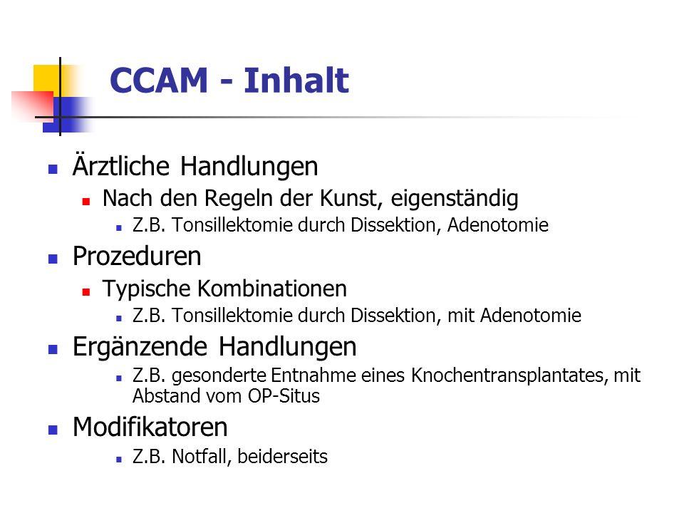 CCAM - Inhalt Ärztliche Handlungen Nach den Regeln der Kunst, eigenständig Z.B. Tonsillektomie durch Dissektion, Adenotomie Prozeduren Typische Kombin