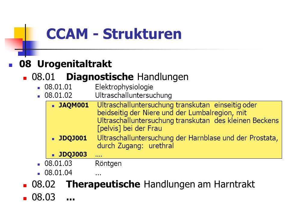 CCAM - Strukturen 08Urogenitaltrakt 08.01Diagnostische Handlungen 08.01.01Elektrophysiologie 08.01.02Ultraschalluntersuchung JAQM001 Ultraschallunters