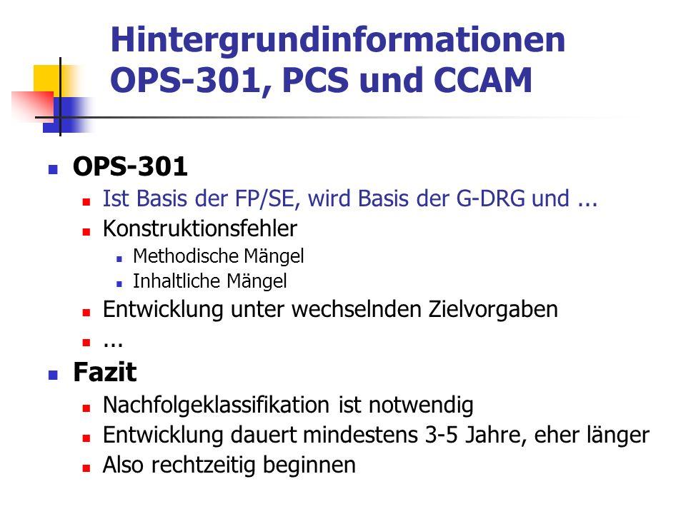 Hintergrundinformationen OPS-301, PCS und CCAM PCS ( http://cms.hhs.gov/providers/pufdownload/icd10.asp )http://cms.hhs.gov/providers/pufdownload/icd10.asp 1996 AG PCS, drei Stellungnahmen PCS methodisch gut Inhalt muss geprüft werden Option für eine zukünftige Prozedurenklassifikation 2000 Prüfung der deutschen Übersetzung ( http://www.dimdi.de/de/klassi/prozeduren/pcs/datpcsgerm.htm )http://www.dimdi.de/de/klassi/prozeduren/pcs/datpcsgerm.htm Redaktionelle Richtlinien Übersetzung o.k.