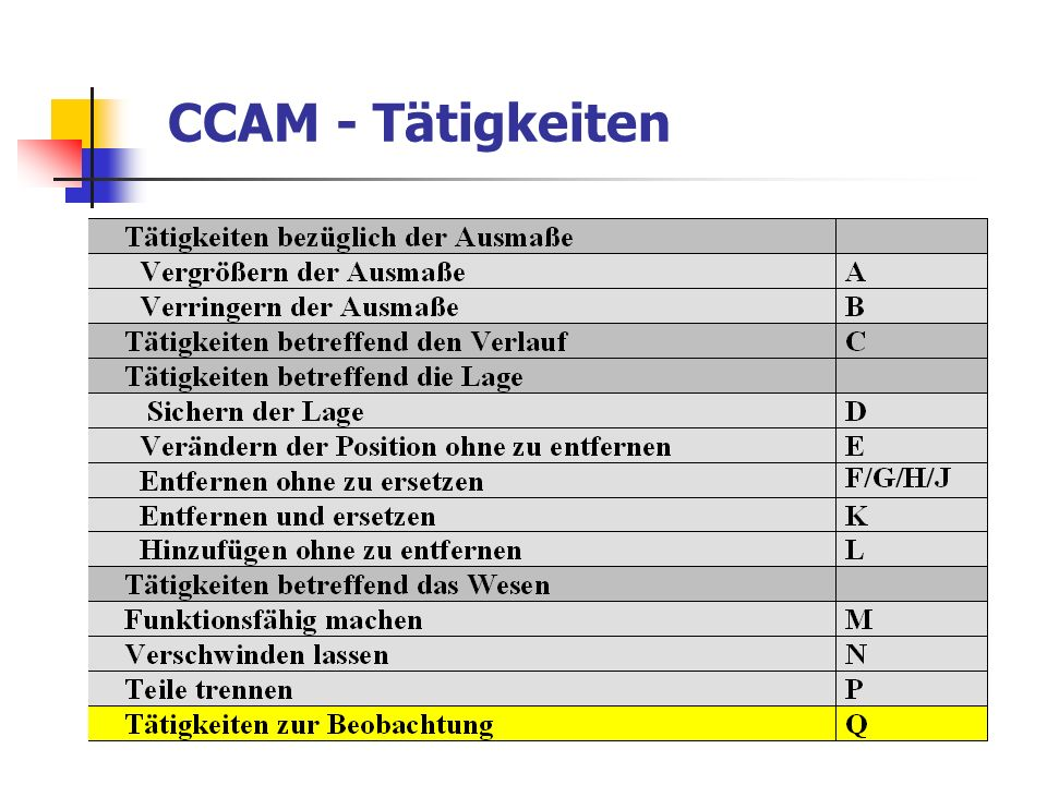CCAM - Tätigkeiten
