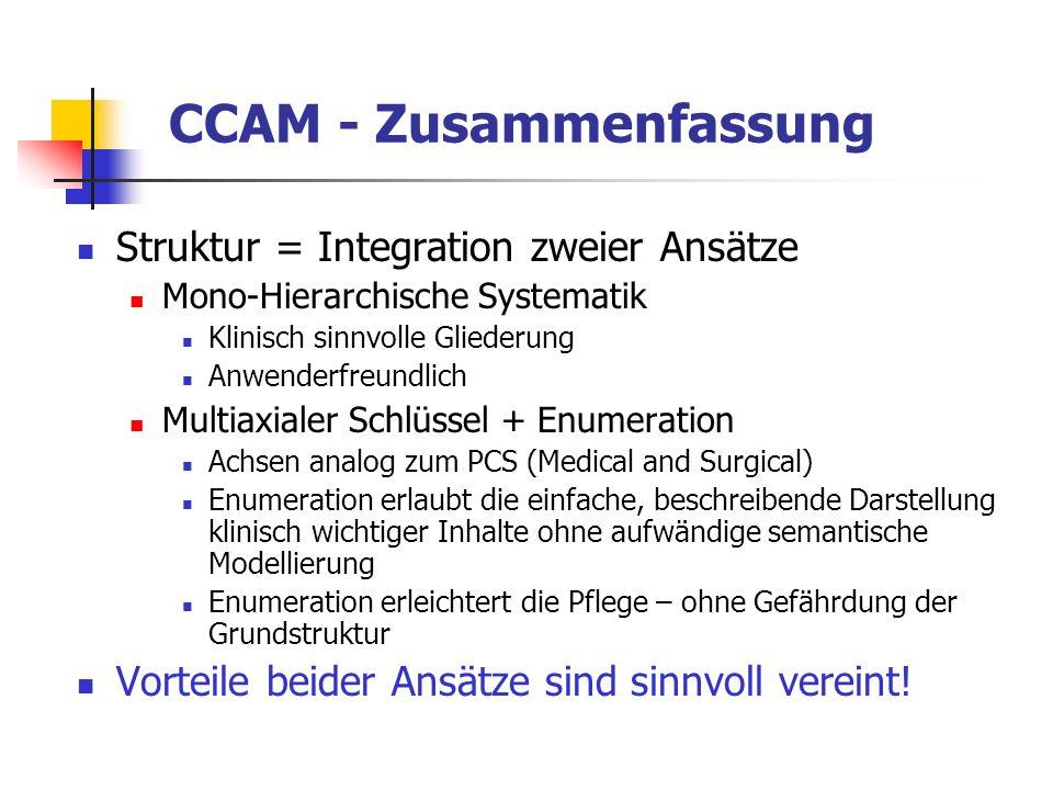 CCAM - Zusammenfassung Struktur = Integration zweier Ansätze Mono-Hierarchische Systematik Klinisch sinnvolle Gliederung Anwenderfreundlich Multiaxial