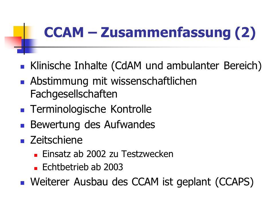 CCAM – Zusammenfassung (2) Klinische Inhalte (CdAM und ambulanter Bereich) Abstimmung mit wissenschaftlichen Fachgesellschaften Terminologische Kontro