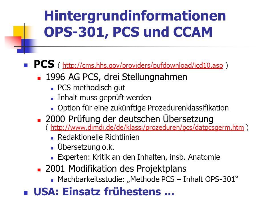 Fazit Differenzierte klinische Inhalte OPS-301 und CCAM Multiaxialität CCAM und PCS Machbarkeitsstudie Können die Inhalte des OPS-301 mit der Methodik des PCS/CCAM so aufbereitet werden, dass eine methodisch gute Brücke zwischen dem heutigen OPS-301 und einer zukünftigen deutschen Prozedurenklassifikation konstruiert werden kann?...