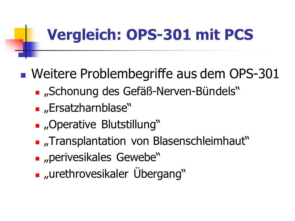 Weitere Problembegriffe aus dem OPS-301 Schonung des Gefäß-Nerven-Bündels Ersatzharnblase Operative Blutstillung Transplantation von Blasenschleimhaut