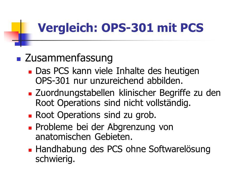 Vergleich: OPS-301 mit PCS Zusammenfassung Das PCS kann viele Inhalte des heutigen OPS-301 nur unzureichend abbilden. Zuordnungstabellen klinischer Be