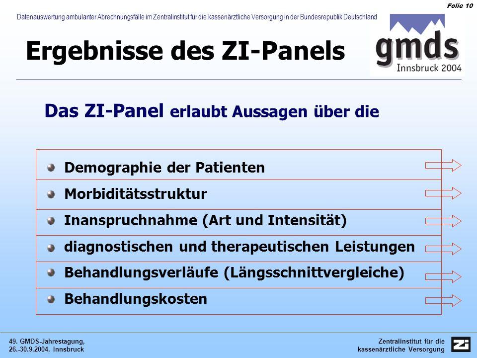 Zentralinstitut für die kassenärztliche Versorgung 49. GMDS-Jahrestagung, 26.-30.9.2004, Innsbruck Folie 10 Datenauswertung ambulanter Abrechnungsfäll