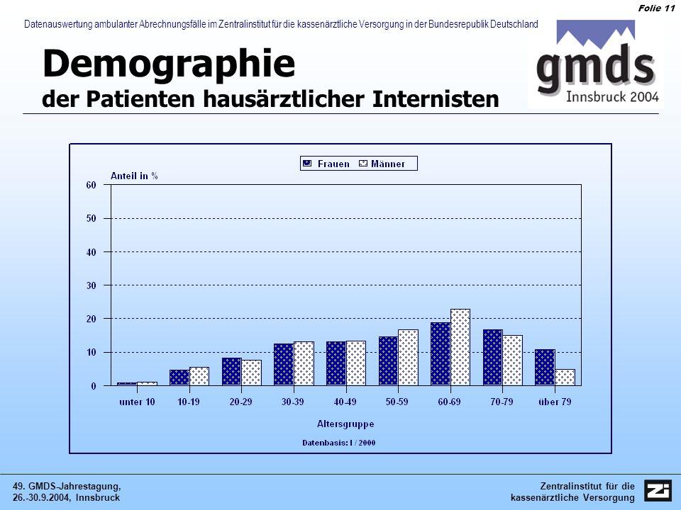 Zentralinstitut für die kassenärztliche Versorgung 49. GMDS-Jahrestagung, 26.-30.9.2004, Innsbruck Folie 11 Datenauswertung ambulanter Abrechnungsfäll
