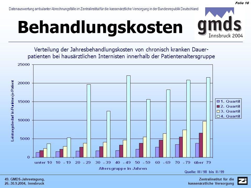 Zentralinstitut für die kassenärztliche Versorgung 49. GMDS-Jahrestagung, 26.-30.9.2004, Innsbruck Folie 16 Datenauswertung ambulanter Abrechnungsfäll