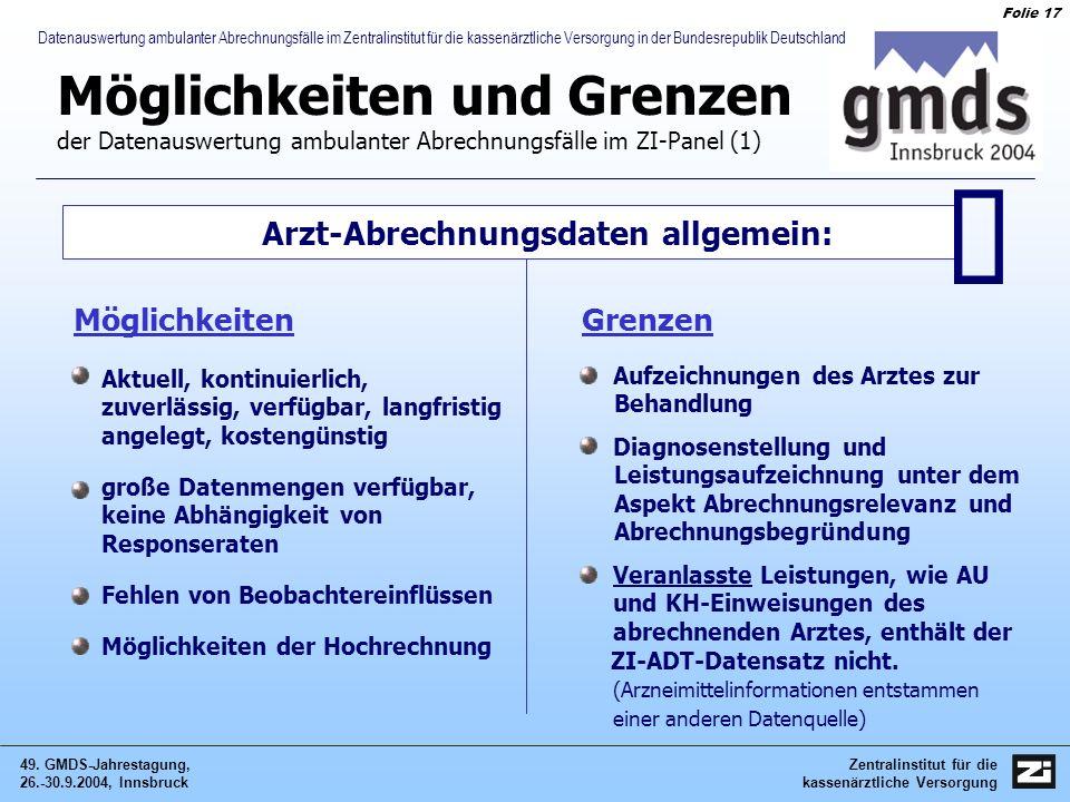 Zentralinstitut für die kassenärztliche Versorgung 49. GMDS-Jahrestagung, 26.-30.9.2004, Innsbruck Folie 17 Datenauswertung ambulanter Abrechnungsfäll
