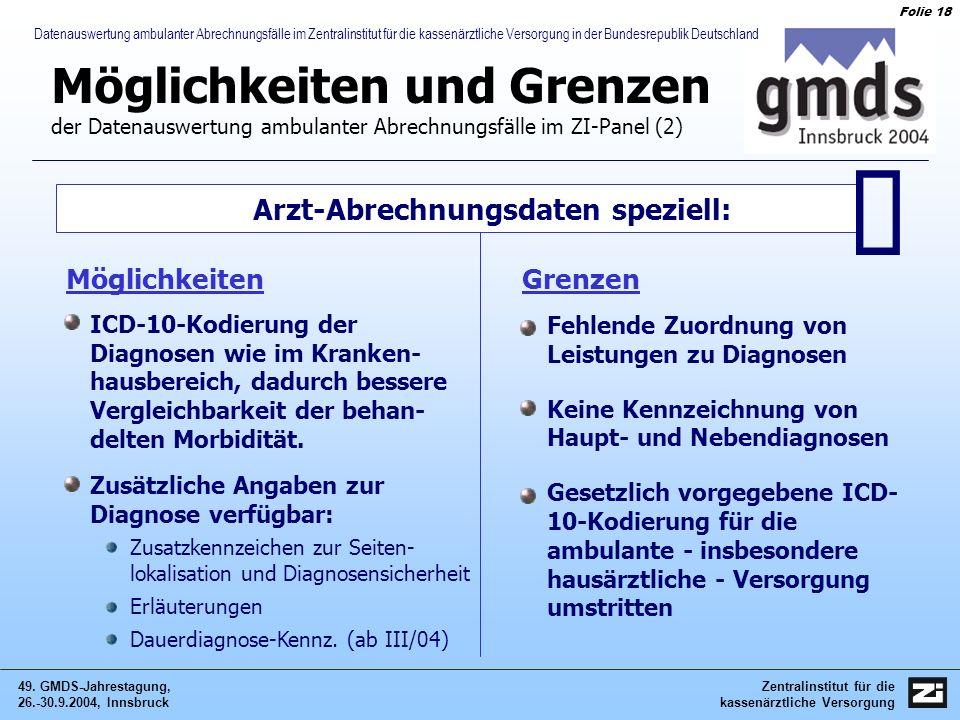 Zentralinstitut für die kassenärztliche Versorgung 49. GMDS-Jahrestagung, 26.-30.9.2004, Innsbruck Folie 18 Datenauswertung ambulanter Abrechnungsfäll