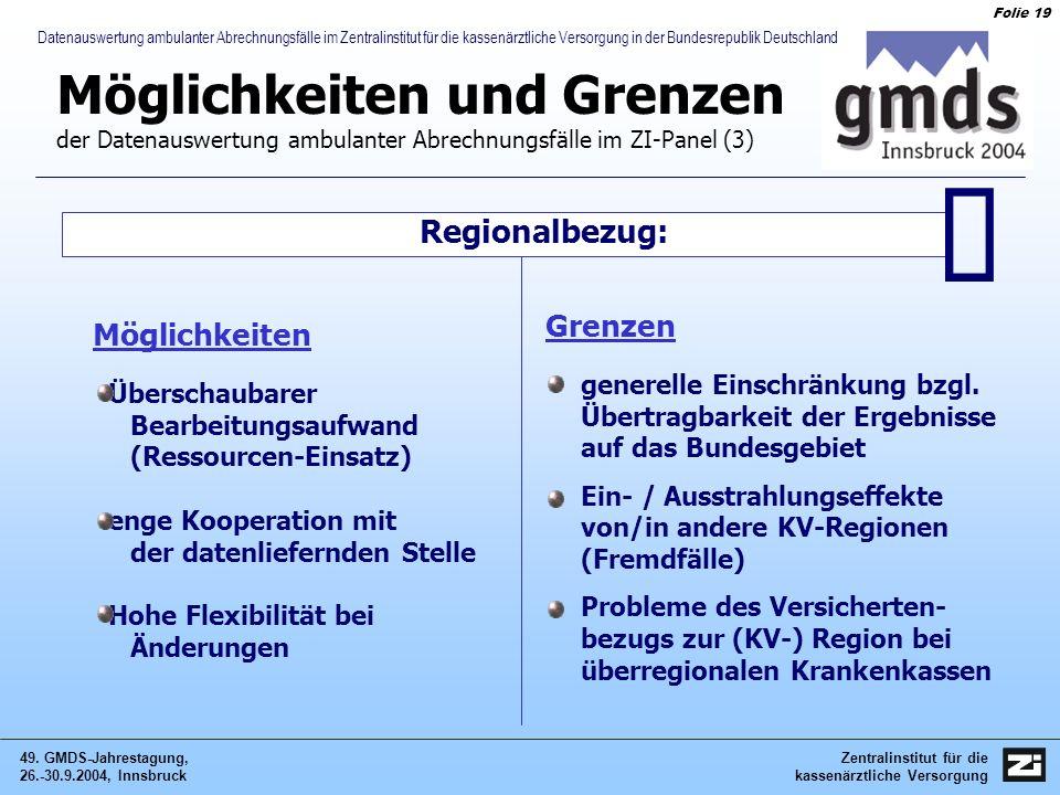 Zentralinstitut für die kassenärztliche Versorgung 49. GMDS-Jahrestagung, 26.-30.9.2004, Innsbruck Folie 19 Datenauswertung ambulanter Abrechnungsfäll