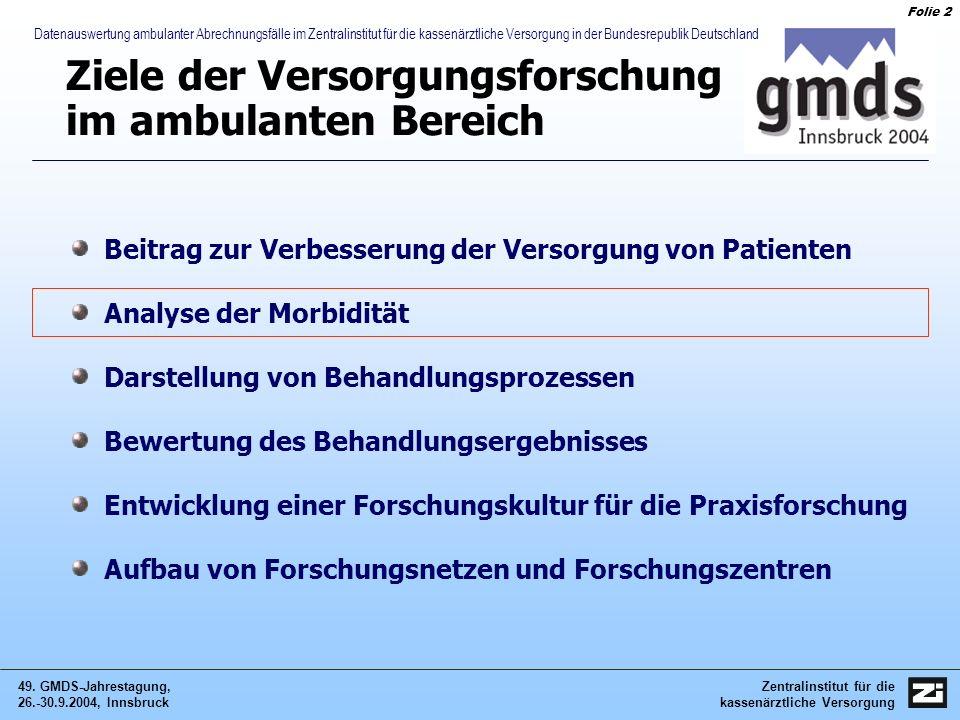 Zentralinstitut für die kassenärztliche Versorgung 49. GMDS-Jahrestagung, 26.-30.9.2004, Innsbruck Folie 2 Datenauswertung ambulanter Abrechnungsfälle