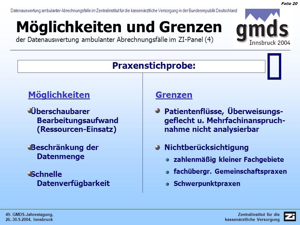 Zentralinstitut für die kassenärztliche Versorgung 49. GMDS-Jahrestagung, 26.-30.9.2004, Innsbruck Folie 20 Datenauswertung ambulanter Abrechnungsfäll