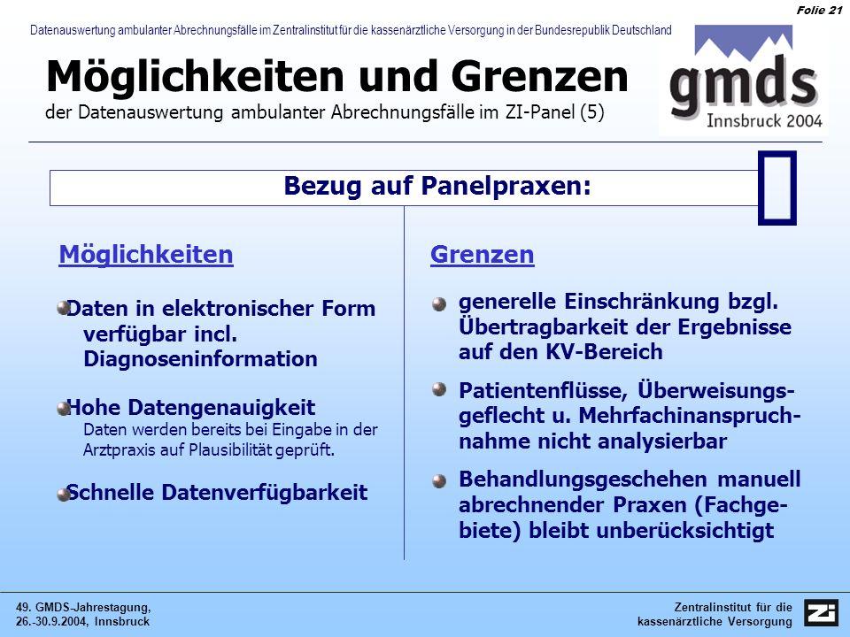 Zentralinstitut für die kassenärztliche Versorgung 49. GMDS-Jahrestagung, 26.-30.9.2004, Innsbruck Folie 21 Datenauswertung ambulanter Abrechnungsfäll