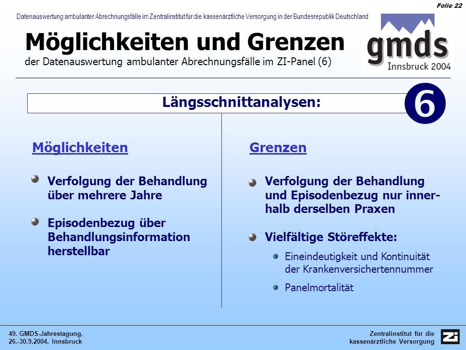 Zentralinstitut für die kassenärztliche Versorgung 49. GMDS-Jahrestagung, 26.-30.9.2004, Innsbruck Folie 22 Datenauswertung ambulanter Abrechnungsfäll