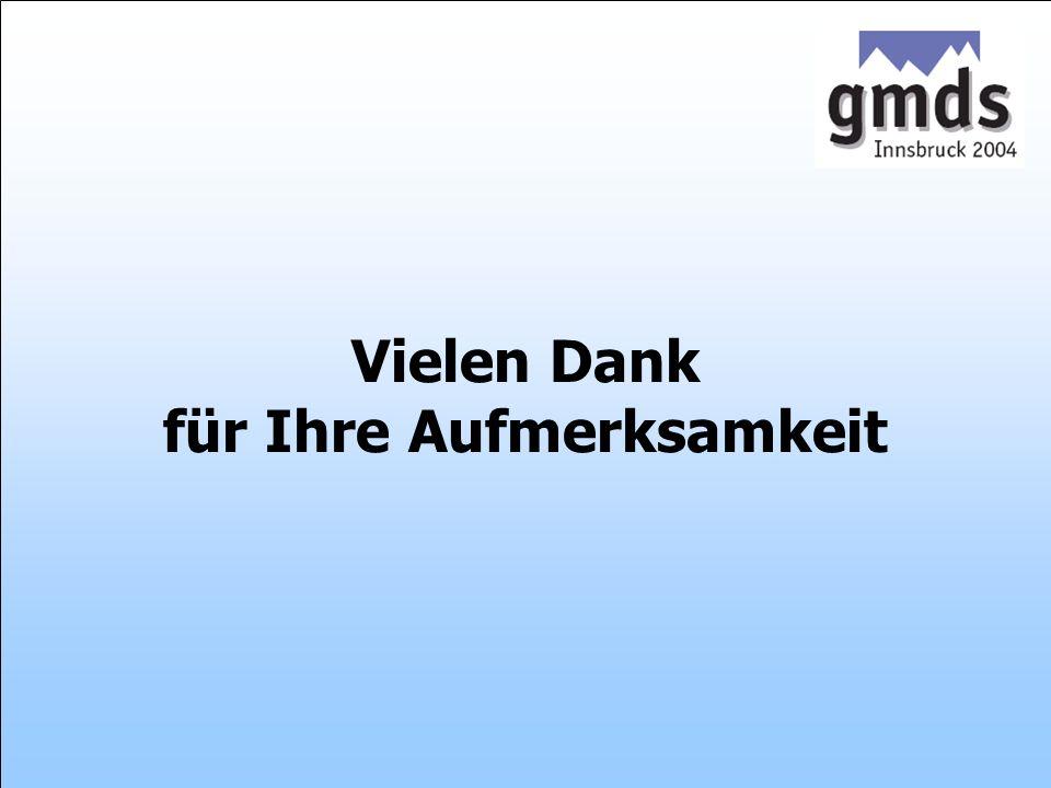 Zentralinstitut für die kassenärztliche Versorgung 49. GMDS-Jahrestagung, 26.-30.9.2004, Innsbruck Folie 23 Datenauswertung ambulanter Abrechnungsfäll