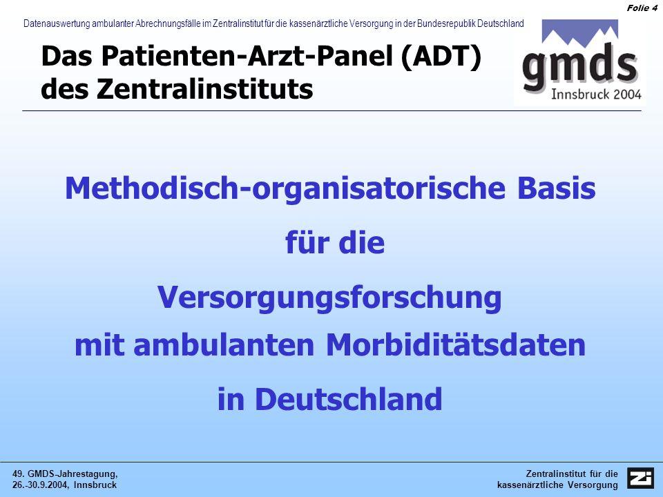 Zentralinstitut für die kassenärztliche Versorgung 49. GMDS-Jahrestagung, 26.-30.9.2004, Innsbruck Folie 4 Datenauswertung ambulanter Abrechnungsfälle
