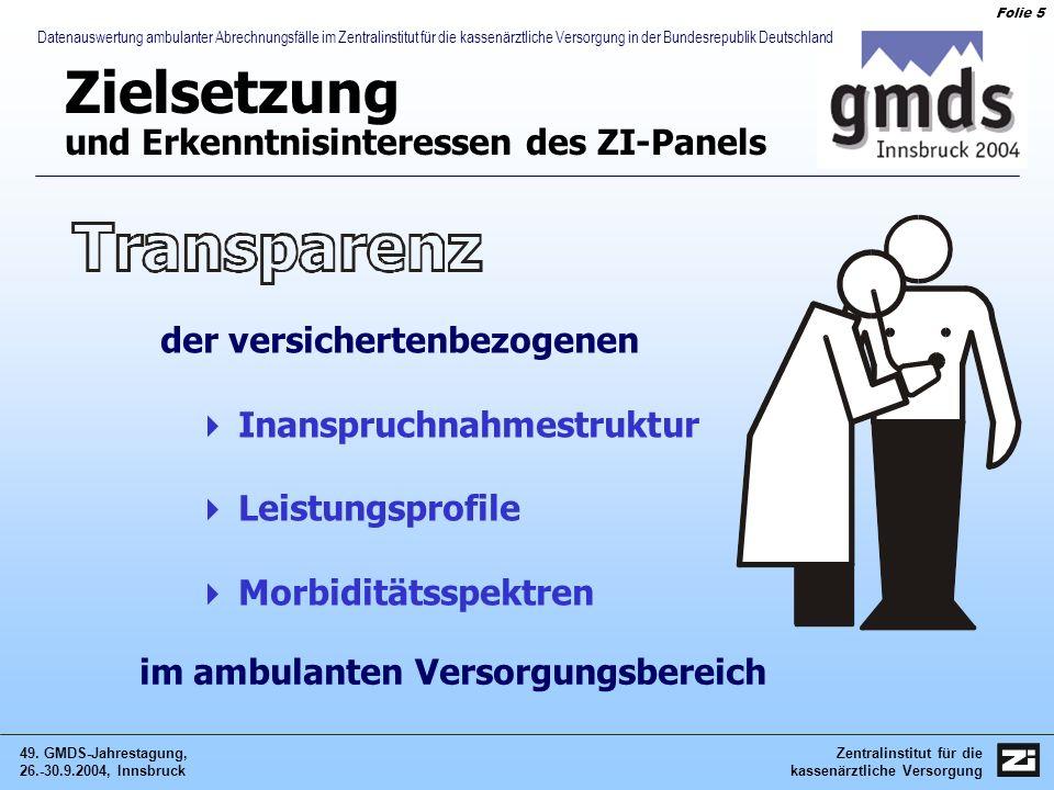 Zentralinstitut für die kassenärztliche Versorgung 49. GMDS-Jahrestagung, 26.-30.9.2004, Innsbruck Folie 5 Datenauswertung ambulanter Abrechnungsfälle
