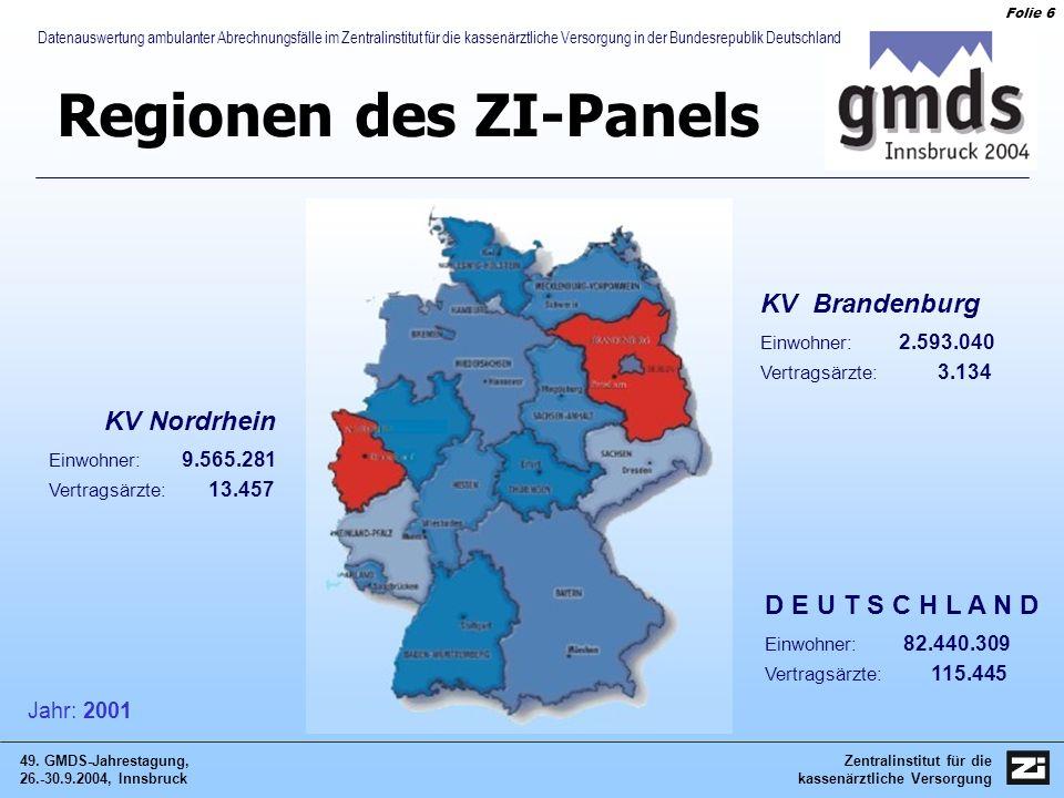 Zentralinstitut für die kassenärztliche Versorgung 49. GMDS-Jahrestagung, 26.-30.9.2004, Innsbruck Folie 6 Datenauswertung ambulanter Abrechnungsfälle