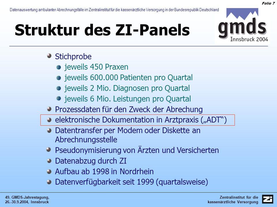 Zentralinstitut für die kassenärztliche Versorgung 49. GMDS-Jahrestagung, 26.-30.9.2004, Innsbruck Folie 7 Datenauswertung ambulanter Abrechnungsfälle