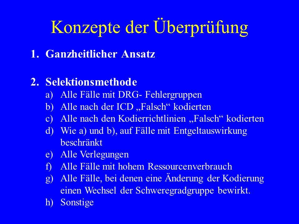 Konzepte der Überprüfung 1.Ganzheitlicher Ansatz 2.Selektionsmethode a)Alle Fälle mit DRG- Fehlergruppen b)Alle nach der ICD Falsch kodierten c)Alle n