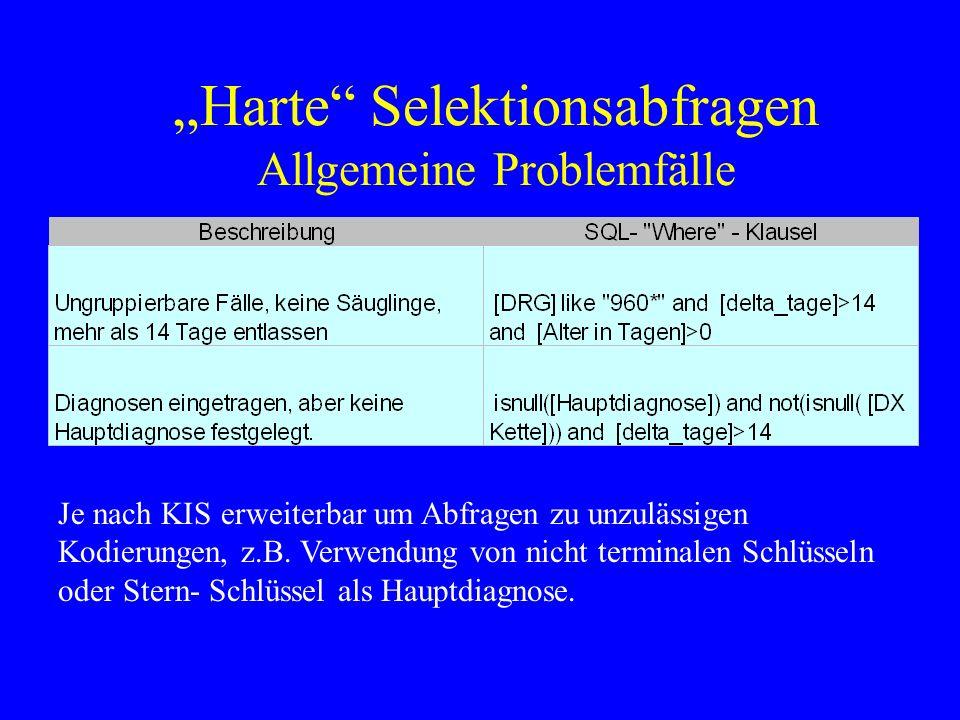 Harte Selektionsabfragen Allgemeine Problemfälle Je nach KIS erweiterbar um Abfragen zu unzulässigen Kodierungen, z.B. Verwendung von nicht terminalen