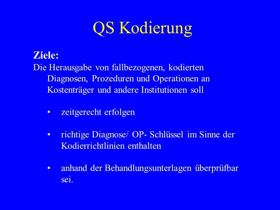 QS Kodierung Ziele: Die Herausgabe von fallbezogenen, kodierten Diagnosen, Prozeduren und Operationen an Kostenträger und andere Institutionen soll ze
