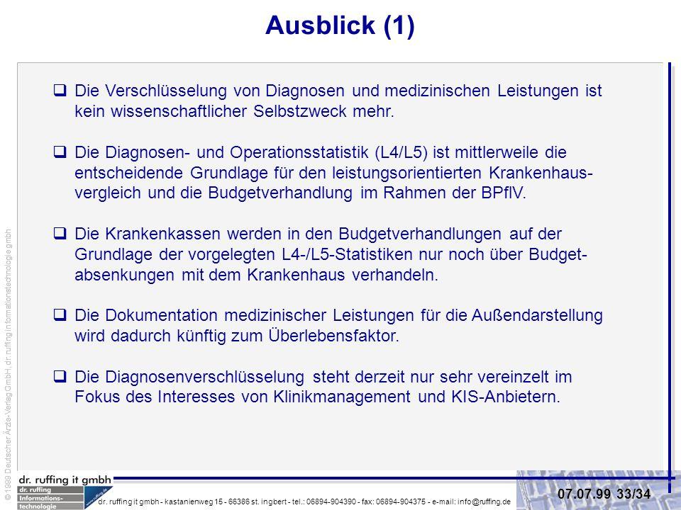 © 1999 Deutscher Ärzte-Verlag GmbH, dr.ruffing informationstechnologie gmbh dr.
