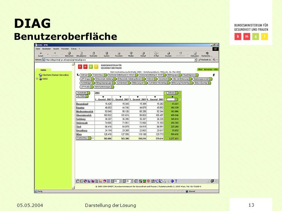 05.05.2004Darstellung der Lösung13 DIAG Benutzeroberfläche