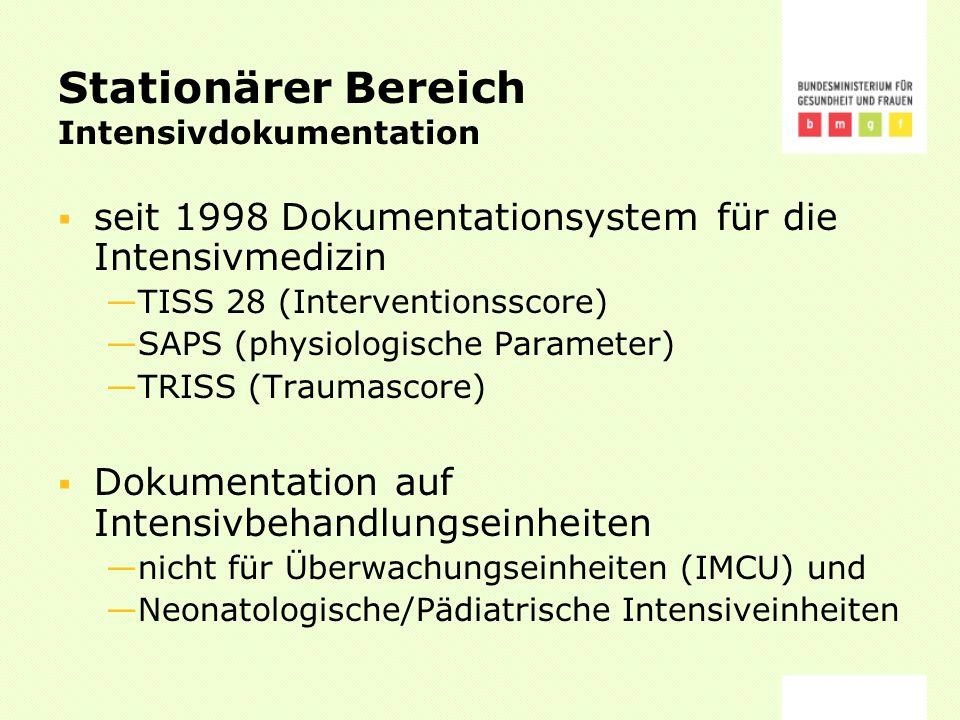Stationärer Bereich Intensivdokumentation seit 1998 Dokumentationsystem für die Intensivmedizin TISS 28 (Interventionsscore) SAPS (physiologische Parameter) TRISS (Traumascore) Dokumentation auf Intensivbehandlungseinheiten nicht für Überwachungseinheiten (IMCU) und Neonatologische/Pädiatrische Intensiveinheiten