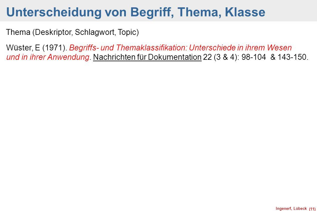 Ingenerf, Lübeck (11) Unterscheidung von Begriff, Thema, Klasse Thema (Deskriptor, Schlagwort, Topic) Wüster, E (1971). Begriffs- und Themaklassifikat