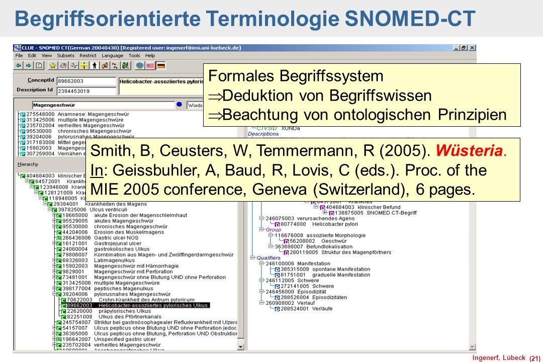 Ingenerf, Lübeck (21) Begriffsorientierte Terminologie SNOMED-CT Smith, B, Ceusters, W, Temmermann, R (2005). Wüsteria. In: Geissbuhler, A, Baud, R, L