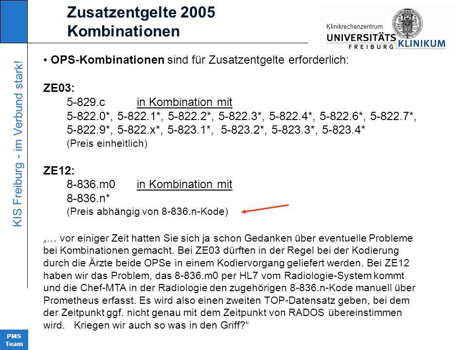 KIS Freiburg - im Verbund stark! PMS Team KIinikrechenzentrum OPS-Kombinationen sind für Zusatzentgelte erforderlich: ZE03: 5-829.c in Kombination mit