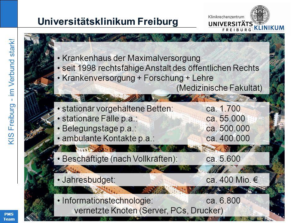 KIS Freiburg - im Verbund stark! PMS Team KIinikrechenzentrum Universitätsklinikum Freiburg Krankenhaus der Maximalversorgung seit 1998 rechtsfähige A