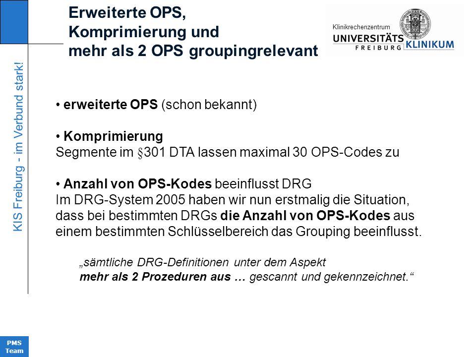 KIS Freiburg - im Verbund stark! PMS Team KIinikrechenzentrum erweiterte OPS (schon bekannt) Komprimierung Segmente im §301 DTA lassen maximal 30 OPS-