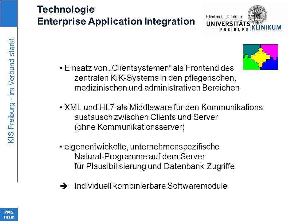 KIS Freiburg - im Verbund stark! PMS Team KIinikrechenzentrum Technologie Enterprise Application Integration Einsatz von Clientsystemen als Frontend d