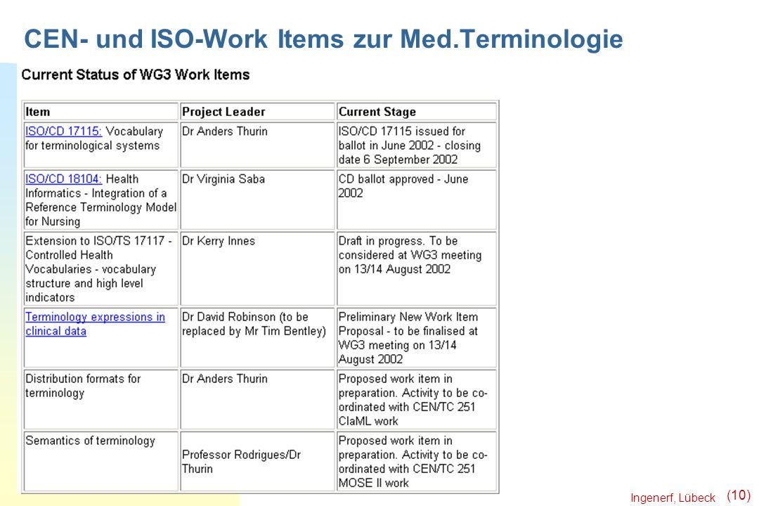Ingenerf, Lübeck (10) CEN- und ISO-Work Items zur Med.Terminologie