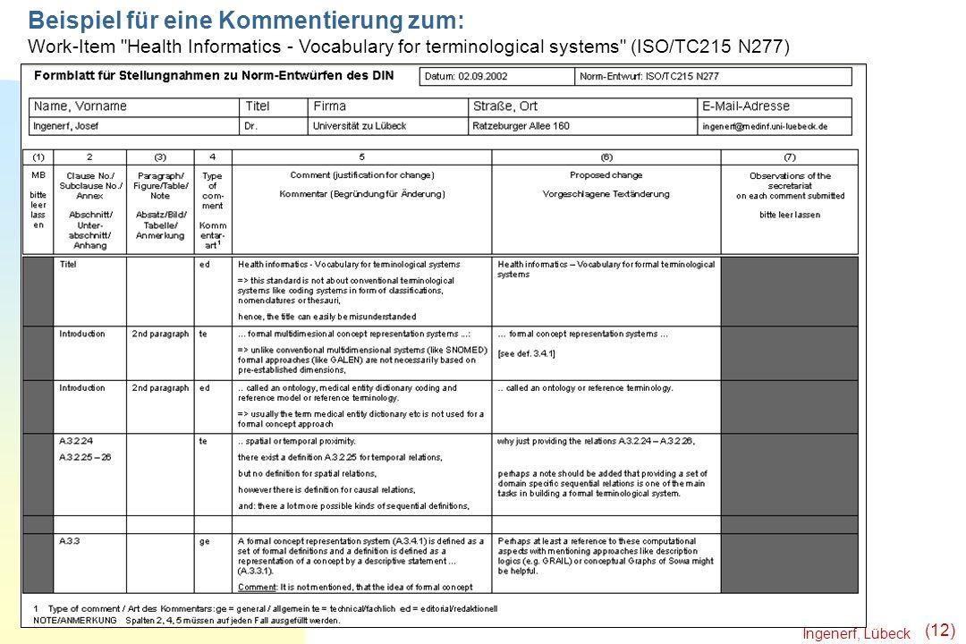 Ingenerf, Lübeck (12) Beispiel für eine Kommentierung zum: Work-Item