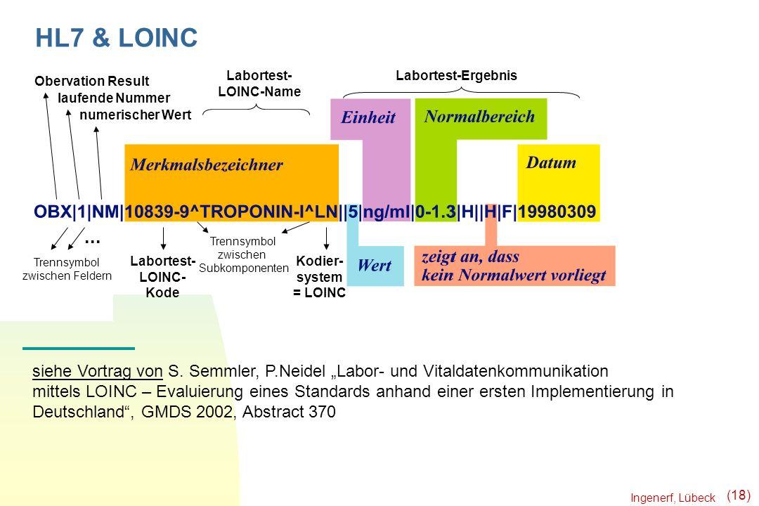 Ingenerf, Lübeck (18) Obervation Result laufende Nummer numerischer Wert... Trennsymbol zwischen Feldern Labortest- LOINC-Name Labortest-Ergebnis Labo