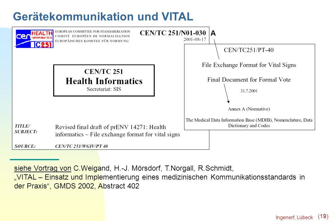 Ingenerf, Lübeck (19) Gerätekommunikation und VITAL siehe Vortrag von C.Weigand, H.-J. Mörsdorf, T.Norgall, R.Schmidt, VITAL – Einsatz und Implementie