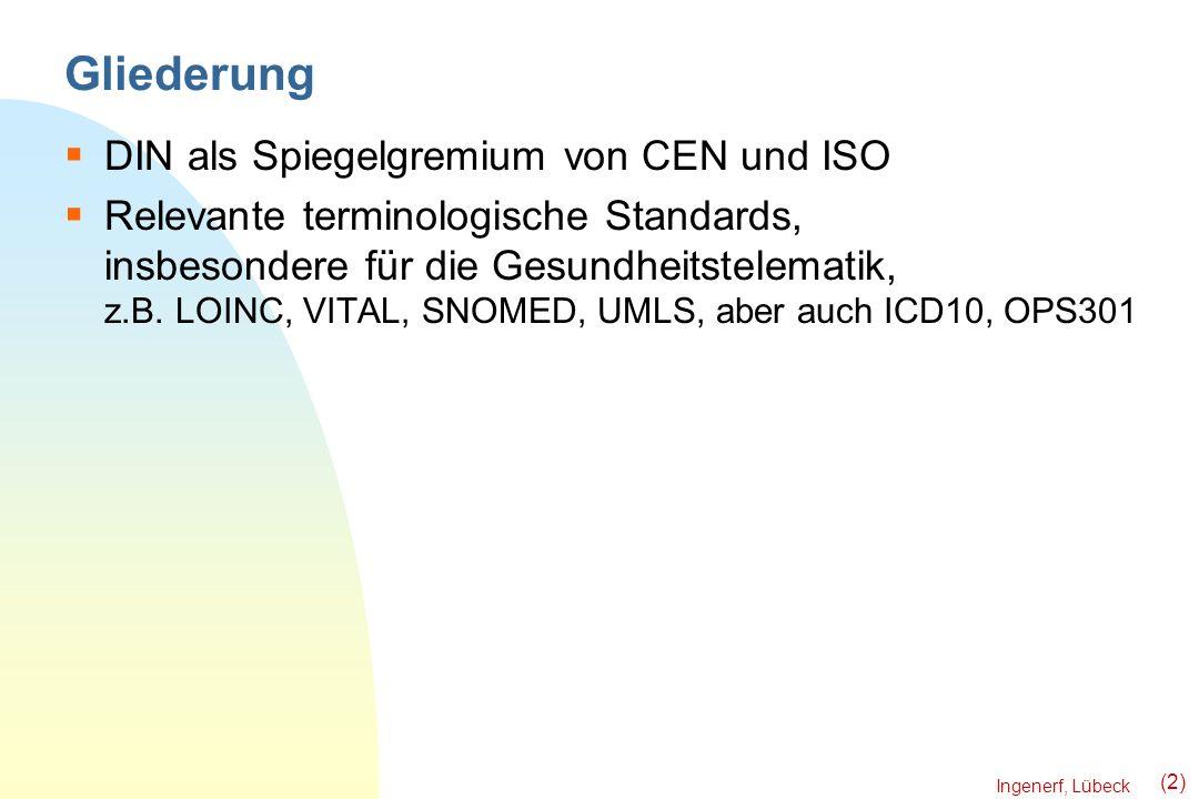 Ingenerf, Lübeck (2) Gliederung DIN als Spiegelgremium von CEN und ISO Relevante terminologische Standards, insbesondere für die Gesundheitstelematik,