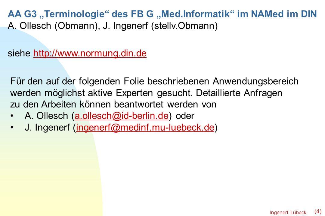 Ingenerf, Lübeck (4) AA G3 Terminologie des FB G Med.Informatik im NAMed im DIN A. Ollesch (Obmann), J. Ingenerf (stellv.Obmann) siehe http://www.norm
