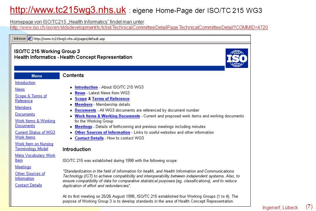Ingenerf, Lübeck (7) http://www.tc215wg3.nhs.ukhttp://www.tc215wg3.nhs.uk : eigene Home-Page der ISO/TC 215 WG3 Homepage von ISO/TC215 Health Informat